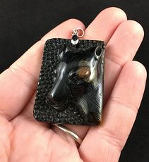 Stunning Wolf Carved Tiger Eye Stone Pendant Jewelry #6uZL83hRojg