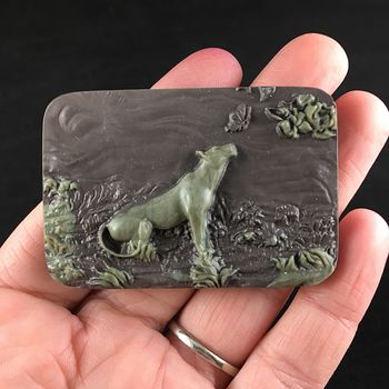 Sweet Gentle Cougar Mountain Lion Puma Leopard Watcing a Butterfly Carved Ribbon Jasper Stone Pendant Jewelry #OZKQlw78FjU