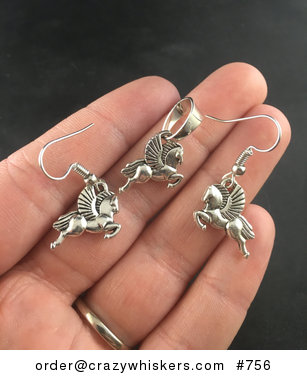 Tibetan Silver Winged Flying Pegasus Horse Earrings and Pendant Set #fw7ak8WM3Zc