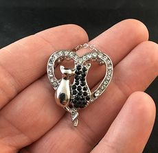 Two Cats Sitting in a Rhinestone Heart on Silver Tone Pendant Necklace #UUECTVx2aZ4