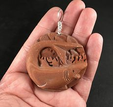 Unisex Carved Swimming Shark Red Malachite Stone Pendant with Wire Bail #A7viw9oRyTo