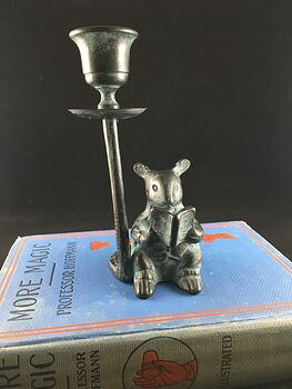 Verdigris Patina Brass Reading Mouse Candle Holder #Zyv6GGQ0x4w