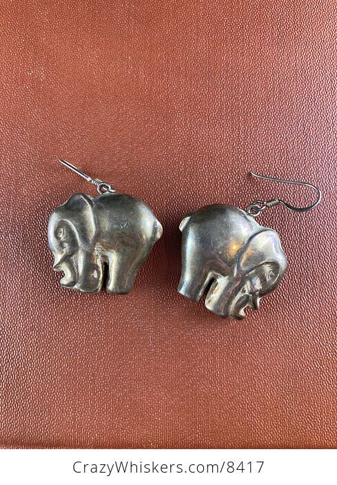 Vintage 3d Metal Dual Sided Elephant Earrings - #pG64dvEBQh8-1
