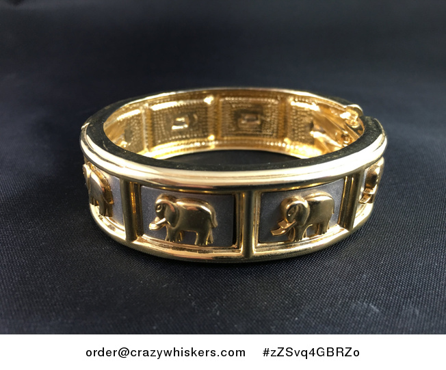 Vintage Bangle Bracelet of Gold Tone Elephants on Silver Rectangles - #zZSvq4GBRZo-1
