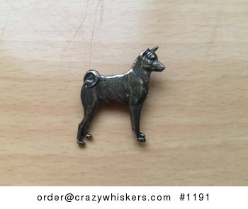 Vintage Basenji Dog with a Curly Tail Brooch Pin Signed Copyright Sterling #AElG3PZ2QQY