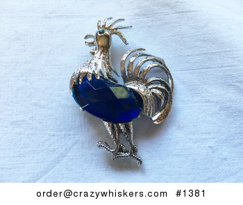 Vintage Beautiful Fancy Silver Tone and Blue Stone Rooster Brooch Pin Shipping Included in Price #7s3EVRjlBx0