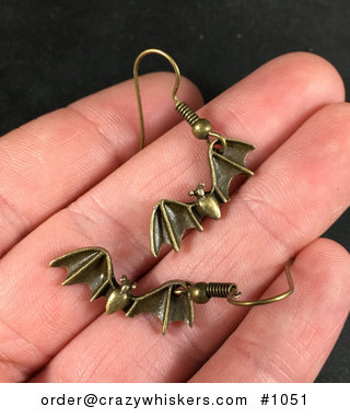 Vintage Bronze Toned Flying Vampire Bat Earrings #F2M21EEKaD8