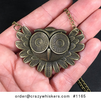 Vintage Bronze Toned Owl Face Pendant Necklace #3vgmXiVkOpw