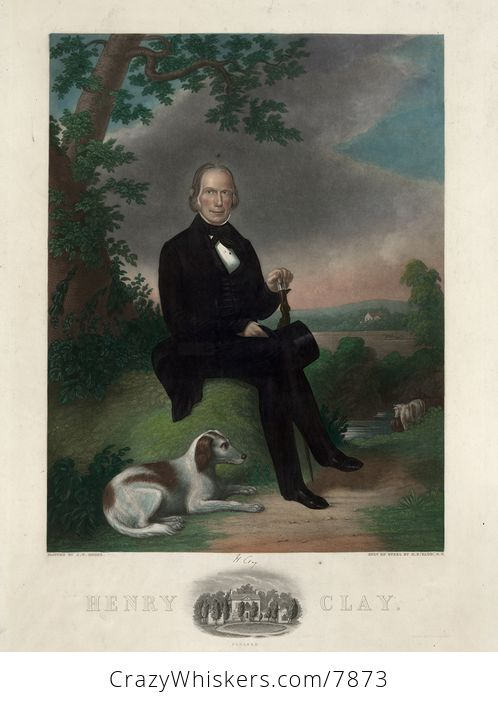 Vintage Digital Image of a Portrait of Heny Clay with a Dog at His Feet - #aWkDt1a2qPc-2