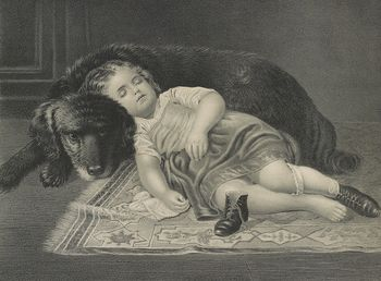 Vintage Digital Image of a Tired Girl Sleeping Against Her Dog C1872 #a3znw8ZEWT8