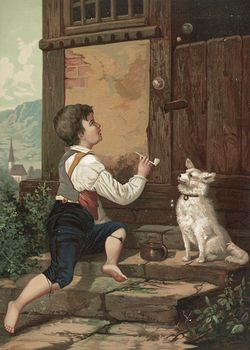 Vintage Digital Image of a Boy Blowing Bubbles by His Dog C 1873 #MK8BWTXfZ5M