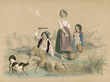 Vintage Digital Image of a Dog and Children at a Pond #FBIH50cEZ2M
