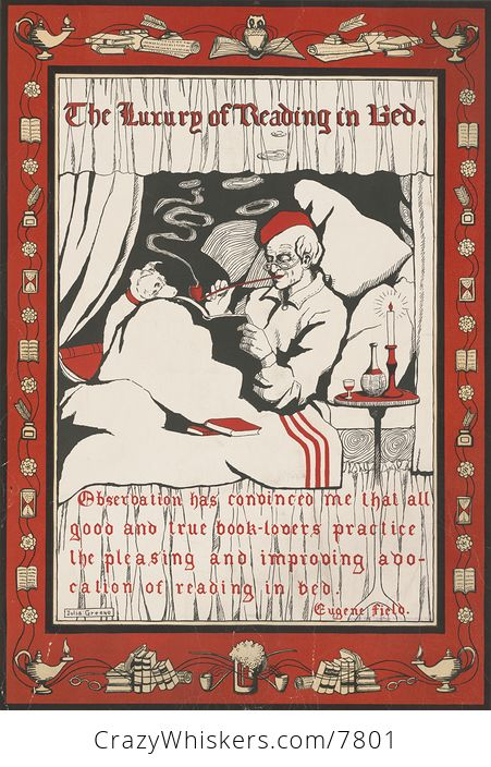 Vintage Digital Image of a Dog and Man in Bed with Text - #7q8dPJ2Lpkc-1
