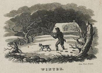 Vintage Digital Image of a Dog and Man with a Rifle in a Winter Barnyard C Between 1810 and 1830 #wkMUfRhNohQ