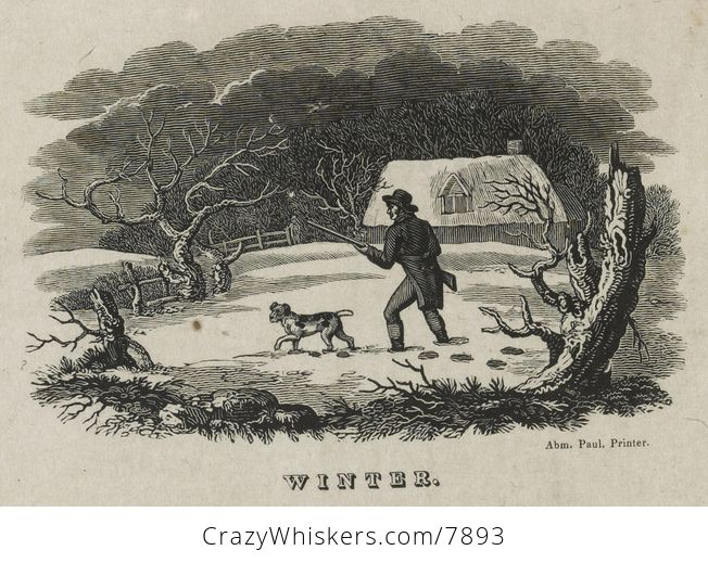 Vintage Digital Image of a Dog and Man with a Rifle in a Winter Barnyard C Between 1810 and 1830 - #wkMUfRhNohQ-1