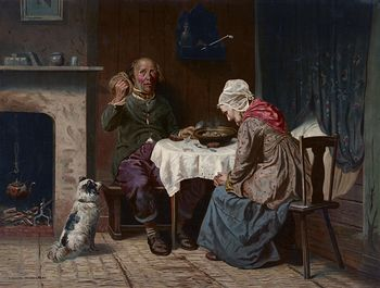 Vintage Digital Image of a Dog Begging While a Man and Woman Pray at a Table #RqaichGEp0g
