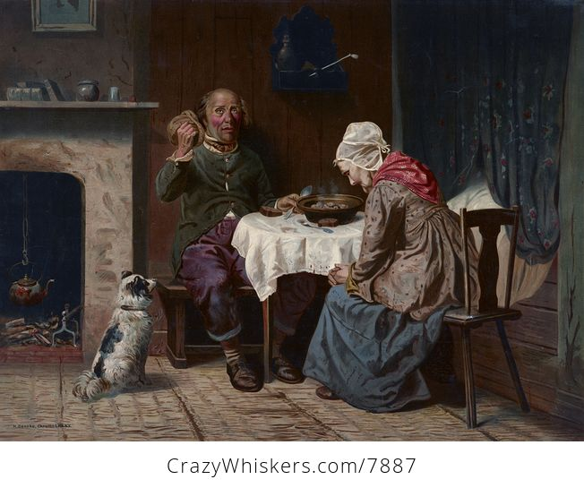 Vintage Digital Image of a Dog Begging While a Man and Woman Pray at a Table - #RqaichGEp0g-1