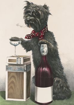 Vintage Digital Image of a Dog Smoking a Cigarette and Resting a Paw on a Wine Bottle and Glass #ABWF6xzRvnk