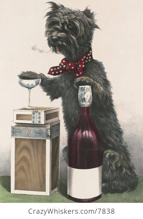 Vintage Digital Image of a Dog Smoking a Cigarette and Resting a Paw on a Wine Bottle and Glass - #ABWF6xzRvnk-1