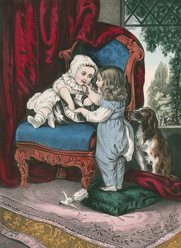 Vintage Digital Image of a Dog Watching a Girl Put Makeup on Her Little Sister #HLz1tG6KAi8