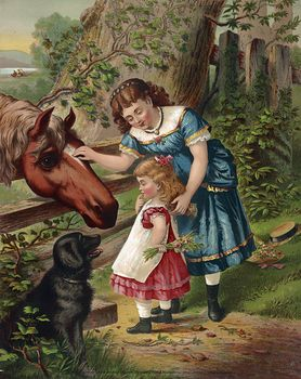 Vintage Digital Image of a Dog Watching a Girl Showing Her Sister How to Pet a Horse #uNkY8XmnFB4