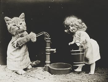 Vintage Digital Image of a Doll and Kitten Pumping Water #Xc9CyXtJLBY