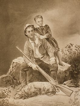 Vintage Digital Image of a Father Son and Dog with a Hunting Rifle C1879 #VfoHboNBEPw