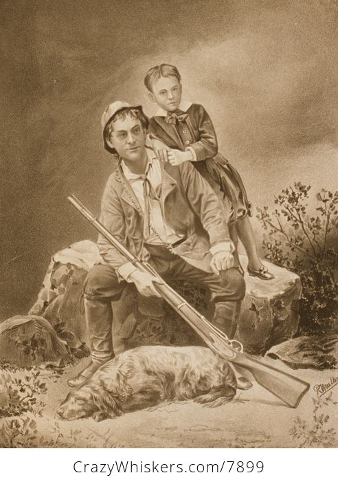 Vintage Digital Image of a Father Son and Dog with a Hunting Rifle C1879 - #VfoHboNBEPw-1