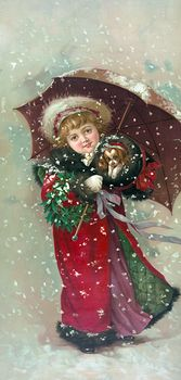 Vintage Digital Image of a Girl and Dog in Snow Storm #jNUvlAwedNs