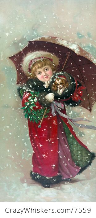 Vintage Digital Image of a Girl and Dog in Snow Storm - #jNUvlAwedNs-1