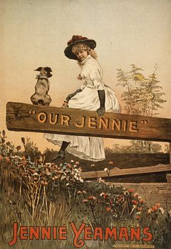 Vintage Digital Image of a Girl and Dog Sitting on a Wooden Board with Our Jennie Text C1887 #6aJJfQGujJQ