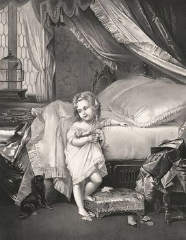 Vintage Digital Image of a Girl Climbing into Bed and Saying Goodnight to Her Dog C1873 #nmdUfuGR0AA