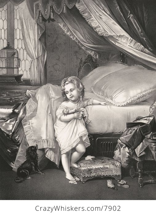 Vintage Digital Image of a Girl Climbing into Bed and Saying Goodnight to Her Dog C1873 - #nmdUfuGR0AA-1