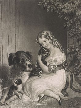 Vintage Digital Image of a Girl Cuddling with a Dog and Puppies #6NHG51nY6ro