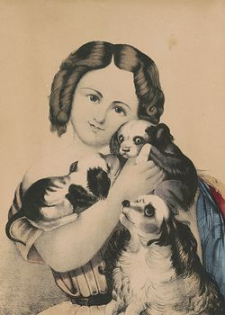 Vintage Digital Image of a Girl Cuddling with Puppies C Between 1842 and 1870 #1nEERUt4e1E