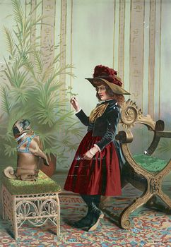 Vintage Digital Image of a Girl Holding up a Treat and Training Her Pug Dog #zwxAOjspzJ8