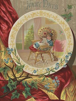 Vintage Digital Image of a Girl Relaxing in a Chair Surrounded by a Cat and Kittens #ivlT8ebBF4s