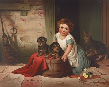 Vintage Digital Image of a Girl with Puppies and a Cat #M0FDZBPx1HM