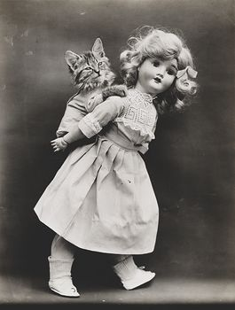Vintage Digital Image of a Kitten Getting a Piggyback Ride from a Doll #PBYx91p0K2Y