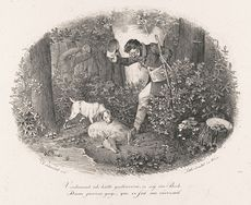 Vintage Digital Image of a Man with Hunting Dogs and a Deer C 1824 #MRoj1R5W36U