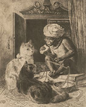 Vintage Digital Image of a Monkey and Cats #Tmezkv6M6yE