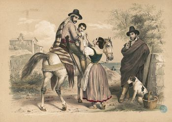 Vintage Digital Image of a Mother Taking a Child from a Horseback Man #NU842i9rmv0