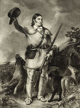 Vintage Digital Image of a Sepia Portait of Colonel David Crockett with Dogs #DQCwddvmt9I
