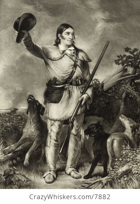Vintage Digital Image of a Sepia Portait of Colonel David Crockett with Dogs - #DQCwddvmt9I-1