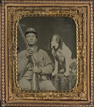 Vintage Digital Photo of a Dog and Unidentified Confederate Soldier Between 1861 and 1865 #iSwku4U4rF4
