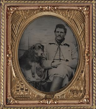 Vintage Digital Photo of a Dog and Unidentified Union Soldier Between 1861 and 1865 #xrbbdM9MgtE