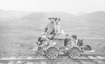 Vintage Digital Photo of a Man with His Dogs on a Rail Cart Trip from Shelton to Nome July 28th 1912 #aaNWUiW2ODY