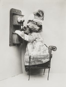 Vintage Digital Photo of a Puppy Dog Talking on a Telephone #YcM0YPKGYZc