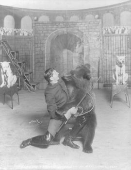 Vintage Digital Photo of a Trainer with a Bear and Dogs #rTcg9cpXoPY