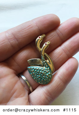 Vintage Gold Toned and Green Textured Swan Pair Pin with Red Eyes #Or60jRzVo6I